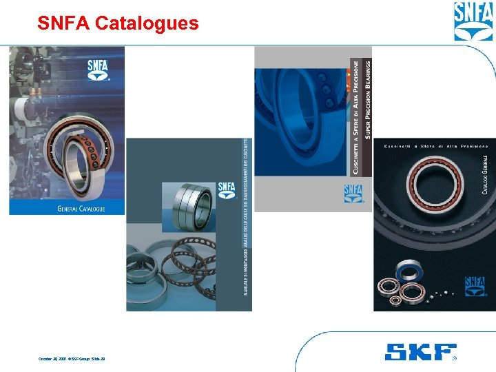 SNFA Catalogues October 30, 2007 © SKF Group Slide 28