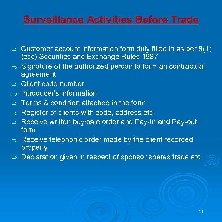 Surveillance Activities Before Trade Þ Þ Þ Þ Þ Customer account information form duly