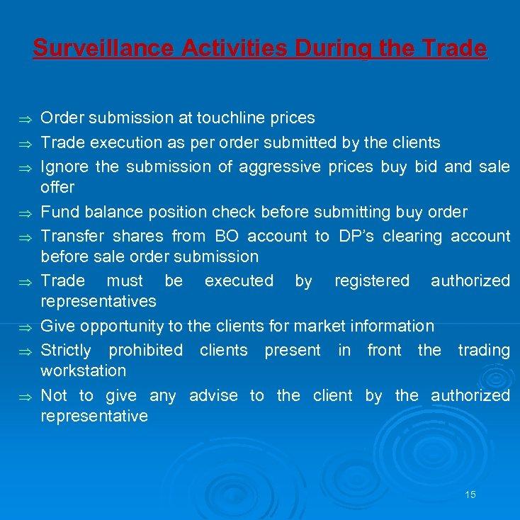 Surveillance Activities During the Trade Þ Þ Þ Þ Þ Order submission at touchline