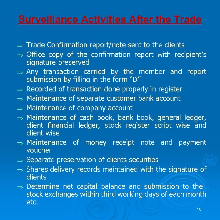 Surveillance Activities After the Trade Þ Þ Þ Trade Confirmation report/note sent to the