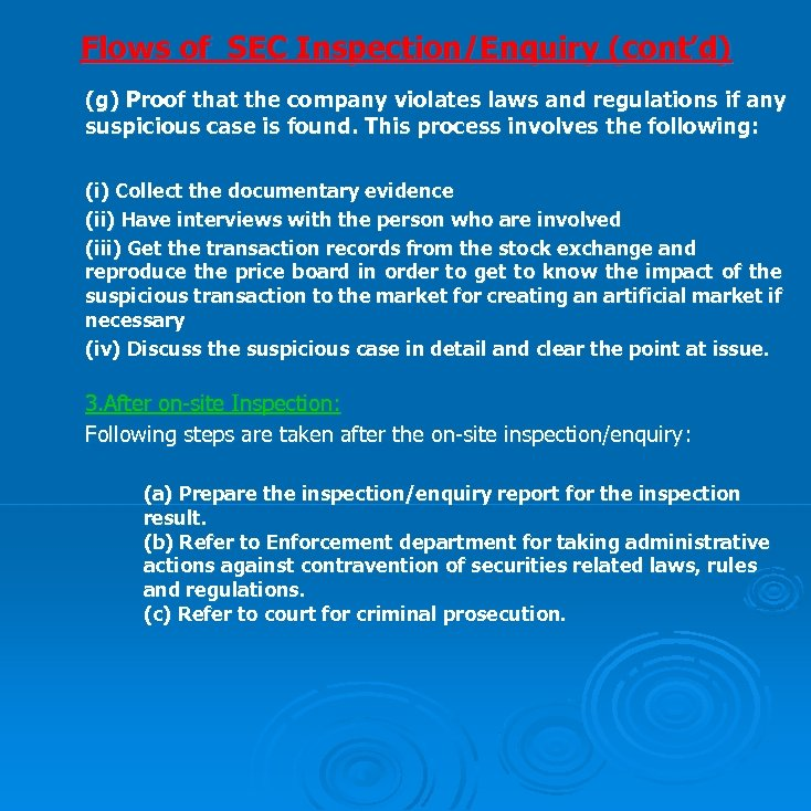 Flows of SEC Inspection/Enquiry (cont'd) (g) Proof that the company violates laws and regulations