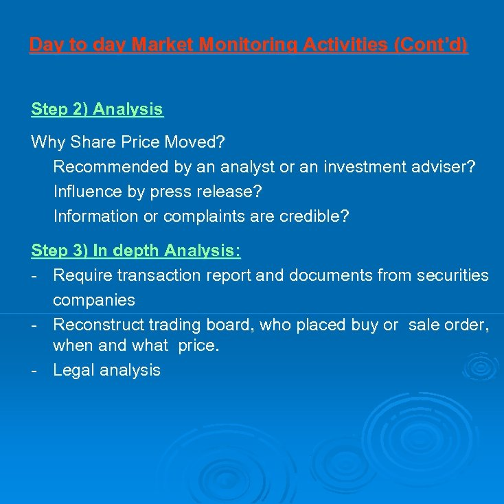 Day to day Market Monitoring Activities (Cont'd) Step 2) Analysis Why Share Price Moved?