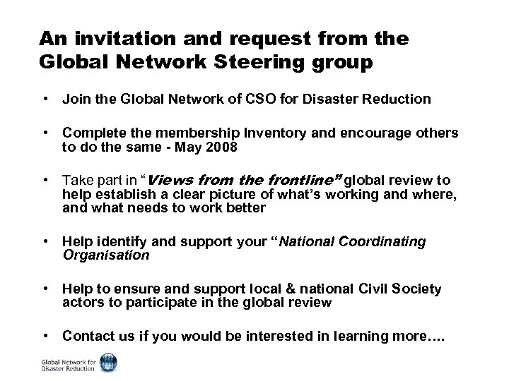 An invitation and request from the Global Network Steering group • Join the Global