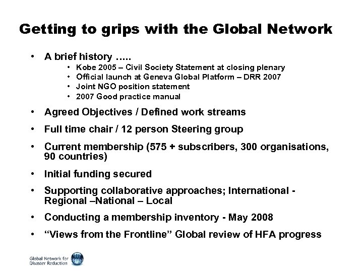 Getting to grips with the Global Network • A brief history …. . •