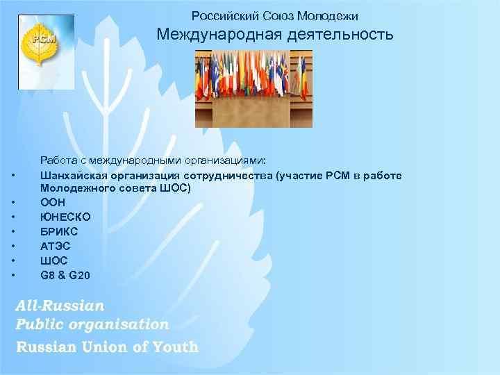 Российский Союз Молодежи Международная деятельность • • Работа с международными организациями: Шанхайская организация сотрудничества