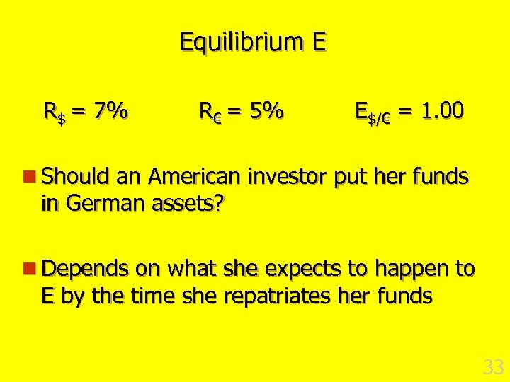Equilibrium E R$ = 7% R€ = 5% E$/€ = 1. 00 n Should