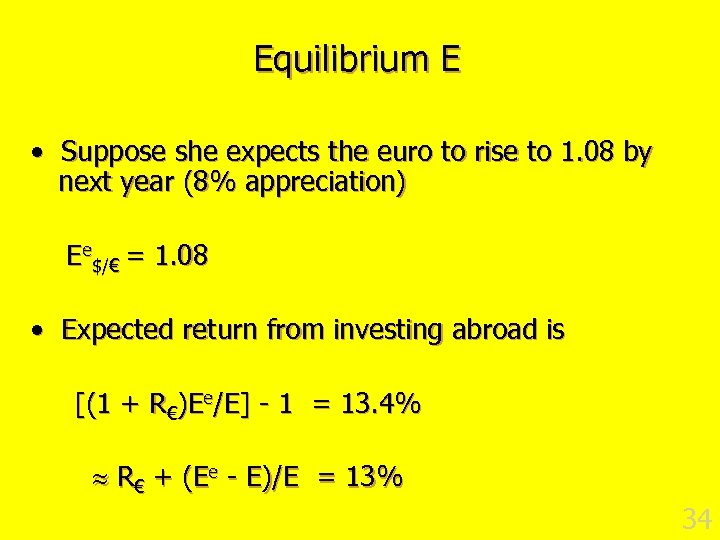 Equilibrium E • Suppose she expects the euro to rise to 1. 08 by