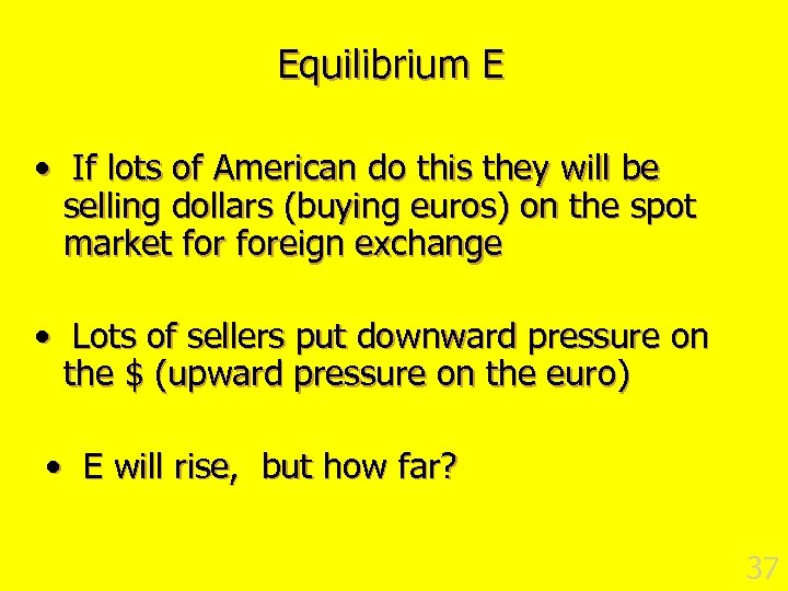 Equilibrium E • If lots of American do this they will be selling dollars
