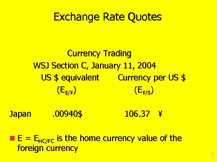Exchange Rate Quotes Currency Trading WSJ Section C, January 11, 2004 US $ equivalent