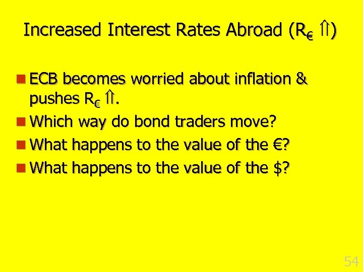 Increased Interest Rates Abroad (R€ ) n ECB becomes worried about inflation & pushes