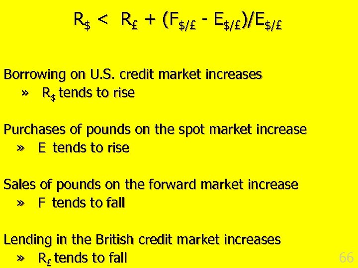 R$ < R£ + (F$/£ - E$/£)/E$/£ Borrowing on U. S. credit market increases
