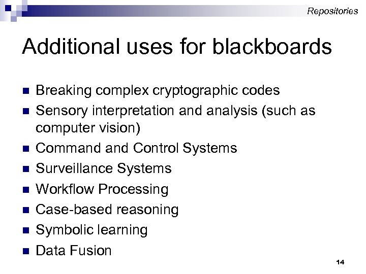 Repositories Additional uses for blackboards n n n n Breaking complex cryptographic codes Sensory