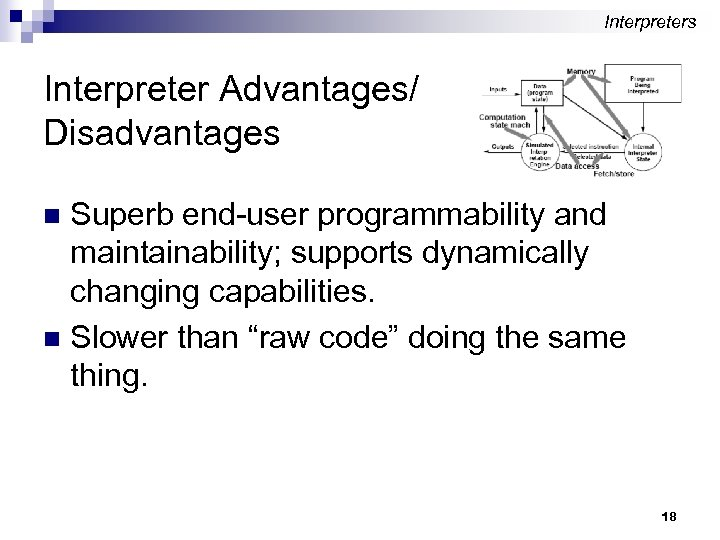 Interpreters Interpreter Advantages/ Disadvantages Superb end-user programmability and maintainability; supports dynamically changing capabilities. n