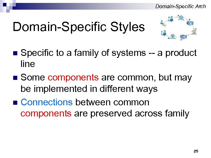 Domain-Specific Arch Domain-Specific Styles Specific to a family of systems -- a product line