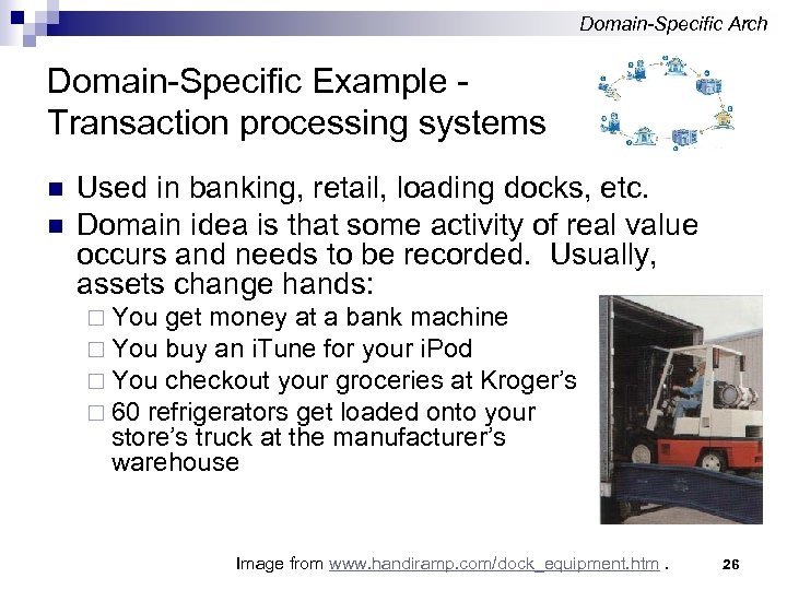 Domain-Specific Arch Domain-Specific Example Transaction processing systems n n Used in banking, retail, loading