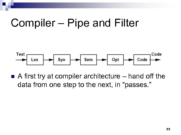 Compiler – Pipe and Filter n A first try at compiler architecture – hand