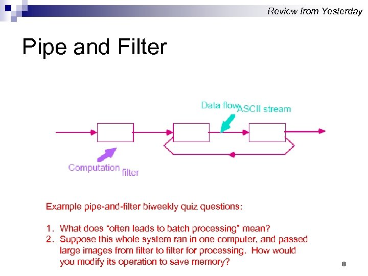 Review from Yesterday Pipe and Filter Example pipe-and-filter biweekly quiz questions: 1. What does