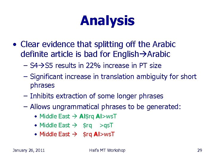 Analysis • Clear evidence that splitting off the Arabic definite article is bad for