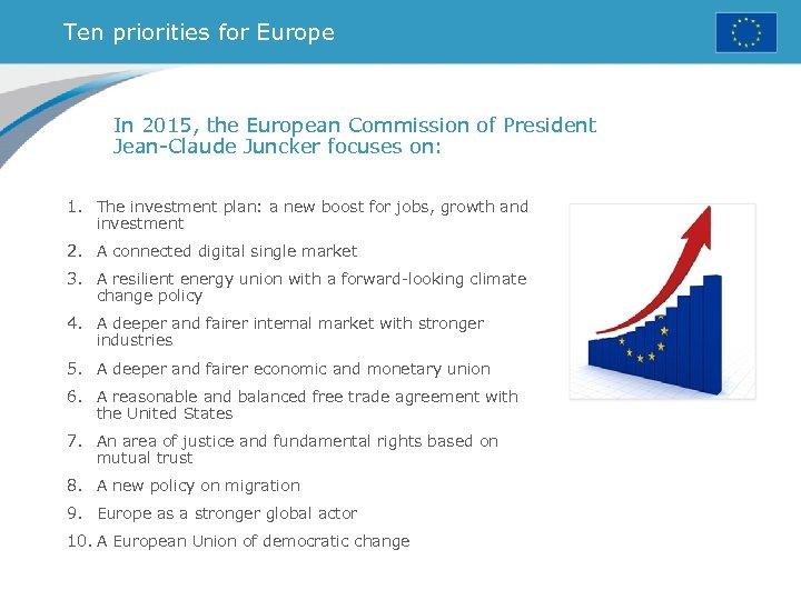 Ten priorities for Europe In 2015, the European Commission of President Jean-Claude Juncker focuses