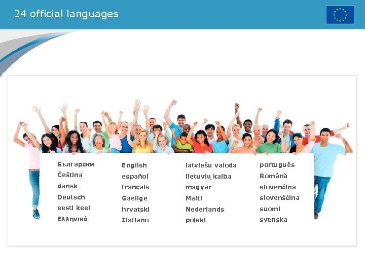 24 official languages Български English latviešu valoda português Čeština español lietuvių kalba Română dansk