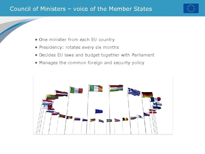 Council of Ministers – voice of the Member States • One minister from each