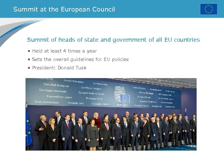 Summit at the European Council Summit of heads of state and government of all