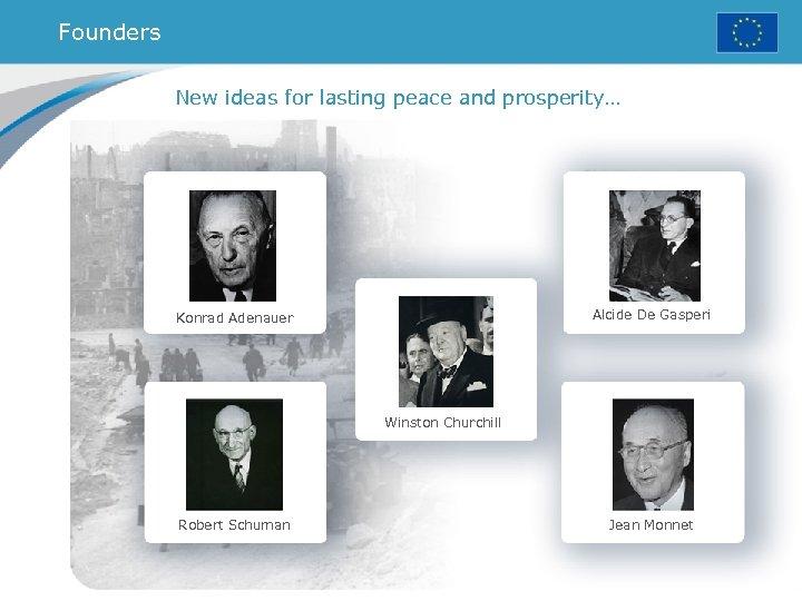 Founders New ideas for lasting peace and prosperity… Alcide De Gasperi Konrad Adenauer Winston