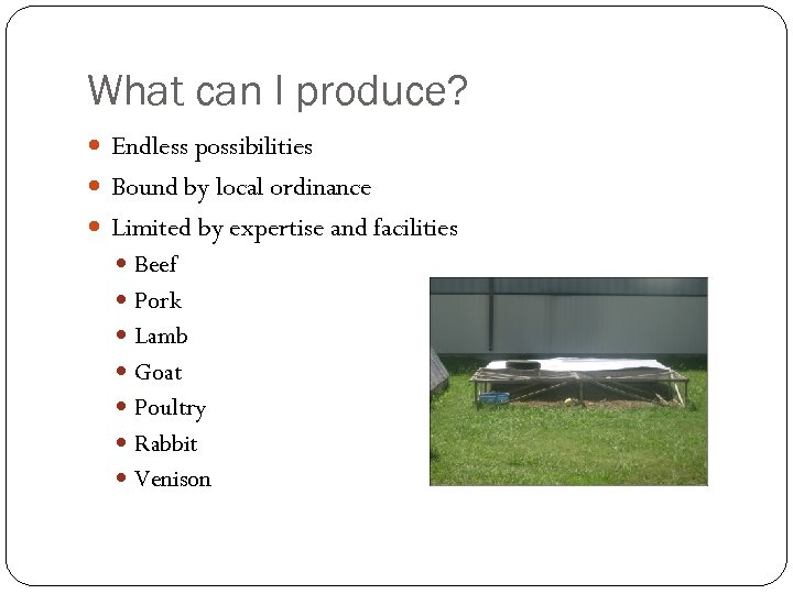 What can I produce? Endless possibilities Bound by local ordinance Limited by expertise and