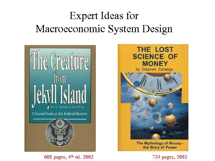 Expert Ideas for Macroeconomic System Design 608 pages, 4 th ed. 2002 724 pages,