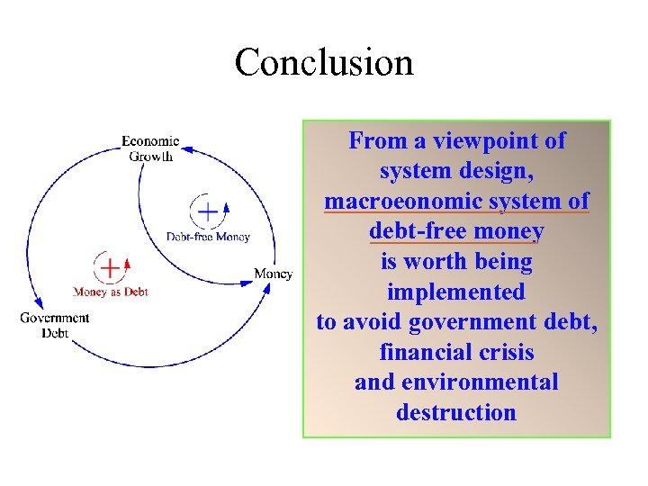 Conclusion From a viewpoint of system design, macroeonomic system of debt-free money is worth