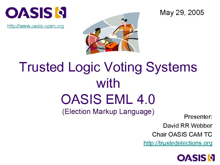May 29, 2005 http: //www. oasis-open. org Trusted Logic Voting Systems with OASIS EML