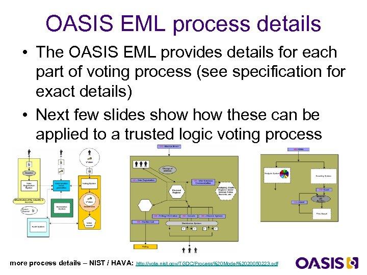 OASIS EML process details • The OASIS EML provides details for each part of