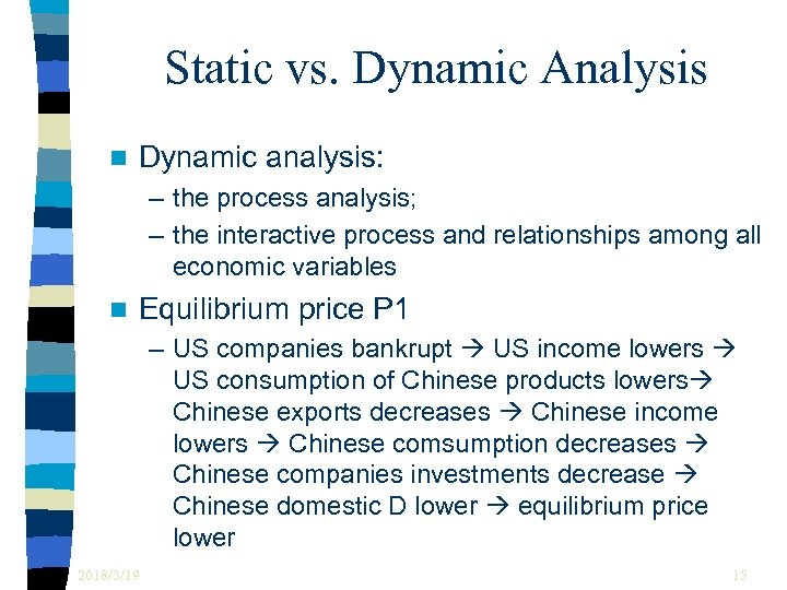 Static vs. Dynamic Analysis n Dynamic analysis: – the process analysis; – the interactive