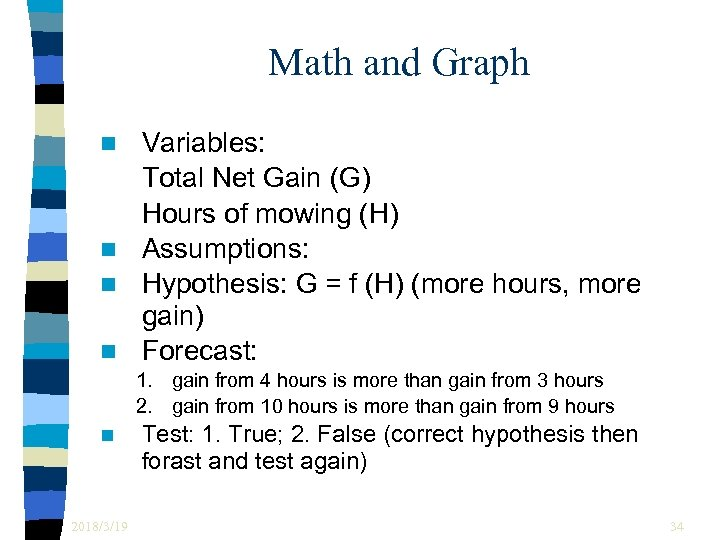 Math and Graph Variables: Total Net Gain (G) Hours of mowing (H) n Assumptions: