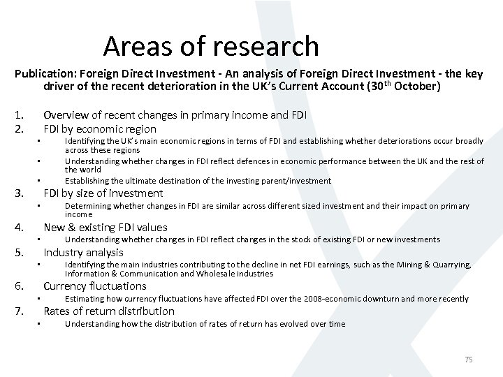 Areas of research Publication: Foreign Direct Investment - An analysis of Foreign Direct Investment