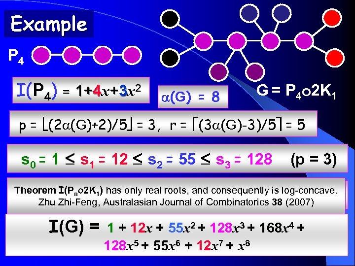 Example P 4 I(P 4) = 1+4 x+3 x 2 (G) = 8 G