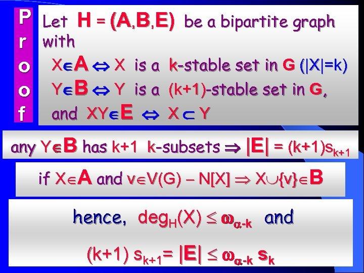 P r o o f Let H = (A, B, E) be a bipartite