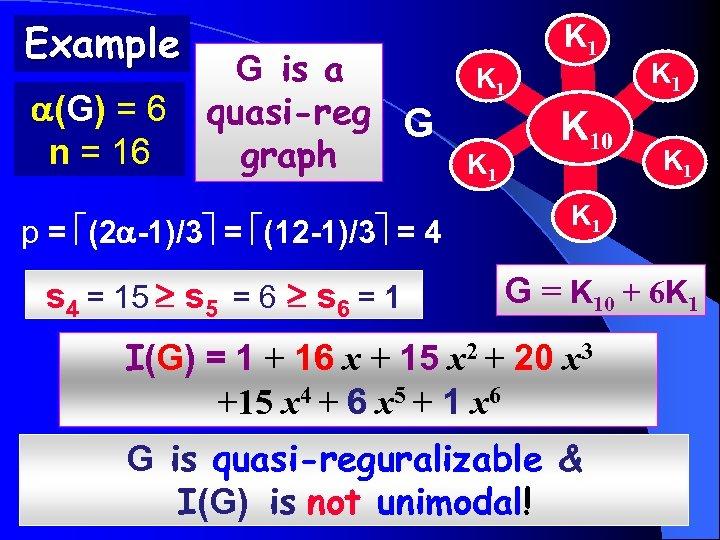 Example (G) = 6 n = 16 G is a quasi-reg G graph p