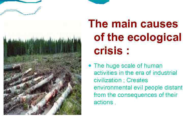 The main causes of the ecological crisis : The huge scale of human activities