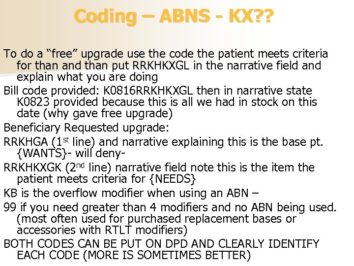"""Coding – ABNS - KX? ? To do a """"free"""" upgrade use the code"""
