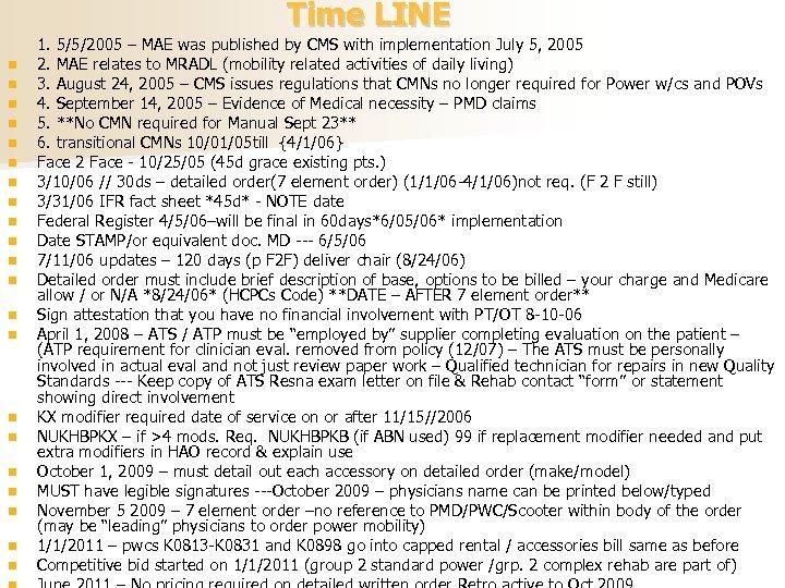 Time LINE n n n n n n 1. 5/5/2005 – MAE was published
