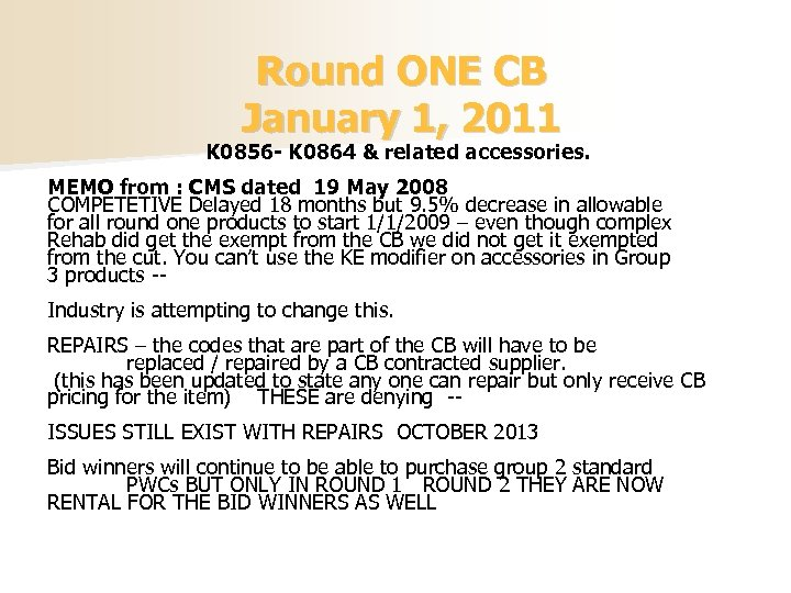 Round ONE CB January 1, 2011 K 0856 - K 0864 & related