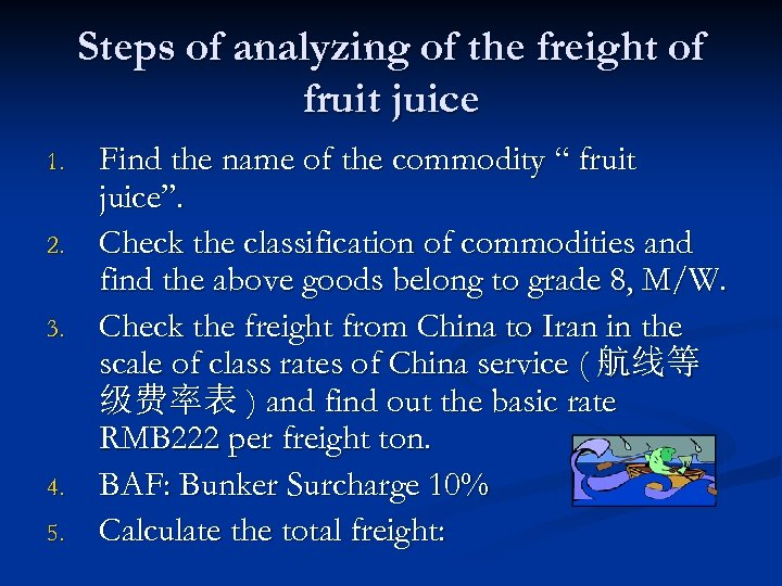 Steps of analyzing of the freight of fruit juice 1. 2. 3. 4. 5.