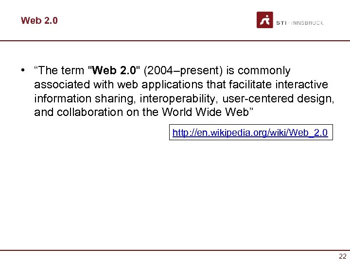 "Web 2. 0 • ""The term"