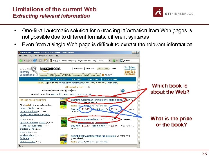 Limitations of the current Web Extracting relevant information • • One-fit-all automatic solution for