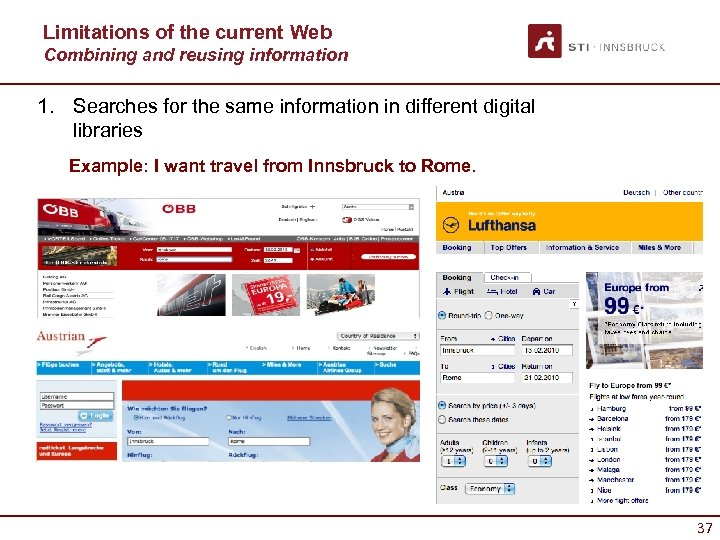 Limitations of the current Web Combining and reusing information 1. Searches for the same