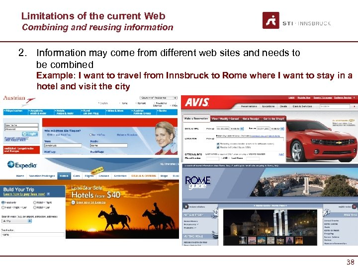 Limitations of the current Web Combining and reusing information 2. Information may come from