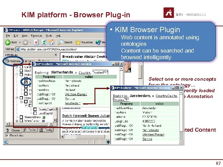 KIM platform - Browser Plug-in • KIM Browser Plugin Web content is annotated using