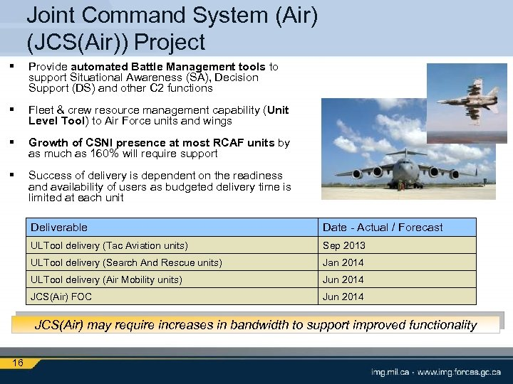 Joint Command System (Air) (JCS(Air)) Project § Provide automated Battle Management tools to support