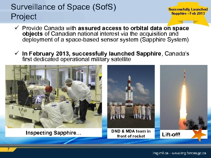 Surveillance of Space (Sof. S) Project Successfully Launched Sapphire - Feb 2013 ü Provide